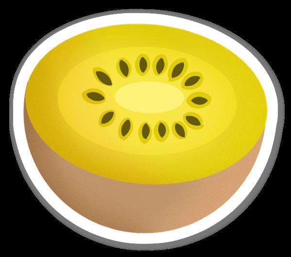 Keltainen kiwi tarra