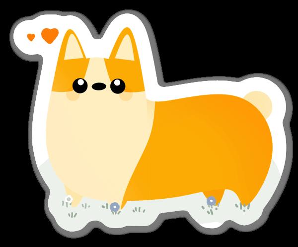 Orange Corgi sticker