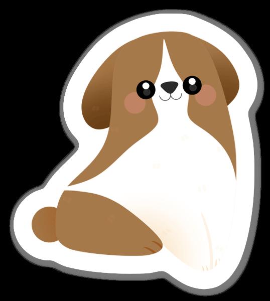 Onnellinen koiranpentu tarra