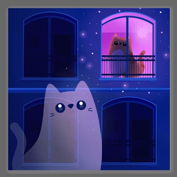Kissa yössä tarra