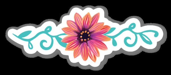 Hand Drawn Flower Feminine Decorative Sticker
