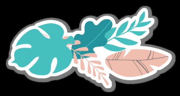 Tropical Palm Leaf Composition sticker
