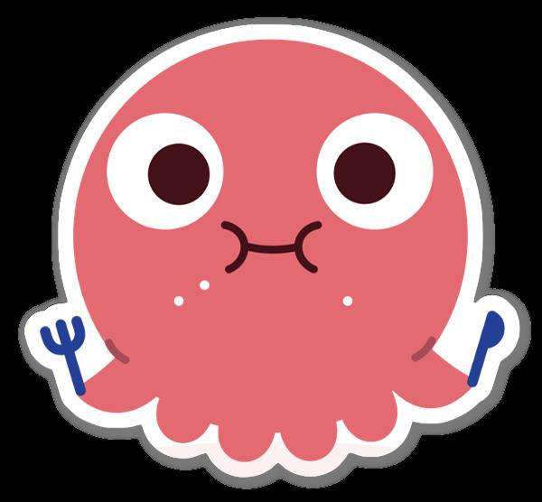 Söpö mustekala tarra