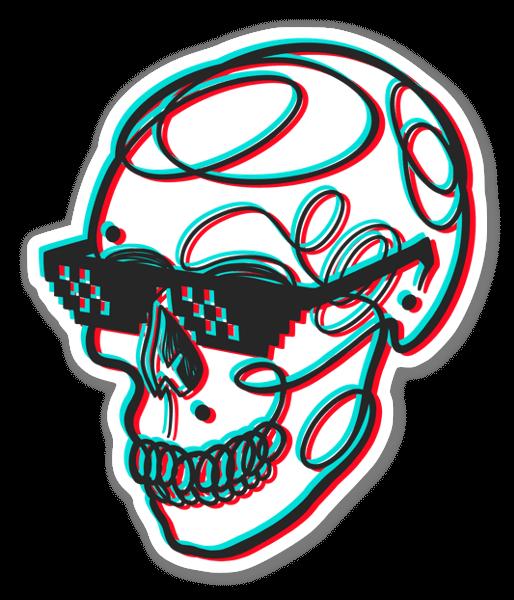 3D Skull Glitch sticker
