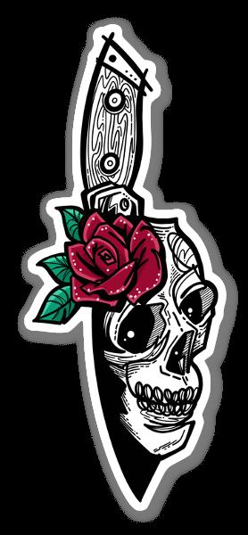 Skull Knife n Rose sticker