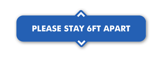 Blue 6ft Apart Stickers