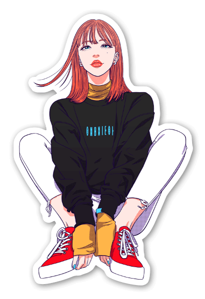 Punatukkanen tyttö tarra