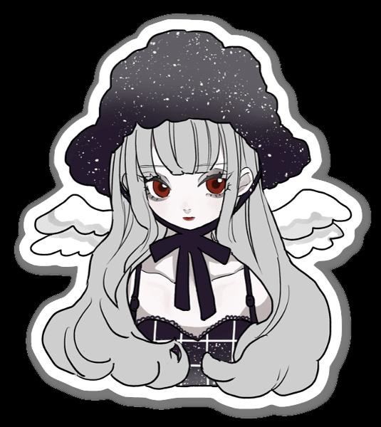 Adesivo ragazza cappello nero sticker