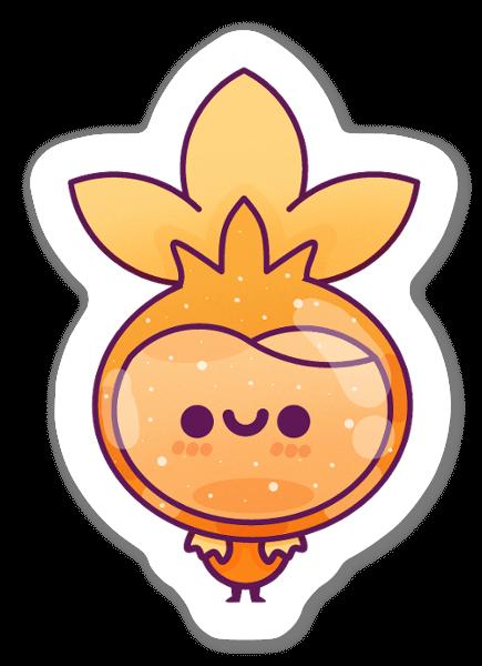 Keltainen söpö kasvi tarra