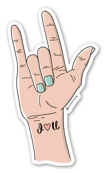 I love you - sign language skin color sticker