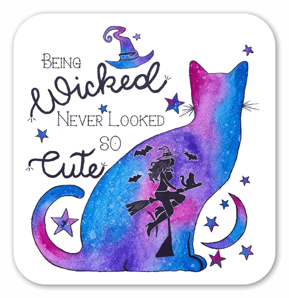 Witchy Watercolour Cat sticker