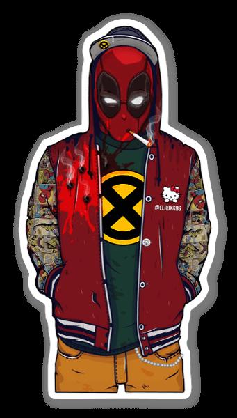 College Deadpool sticker