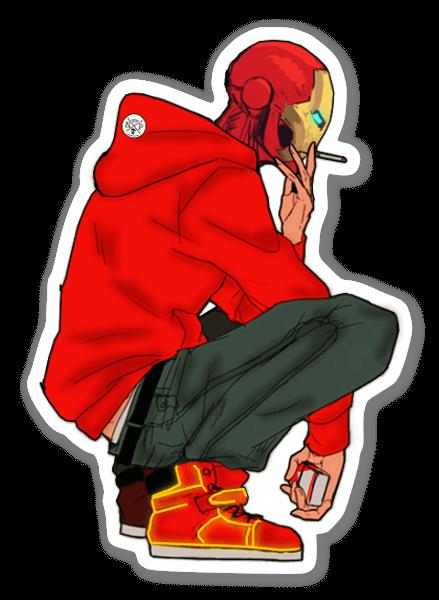Iron Man con cappuccio sticker