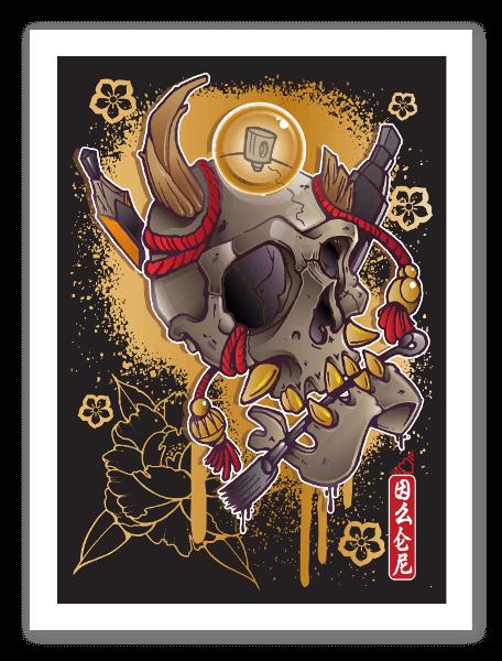 Japońska czaszka 02 naklejka