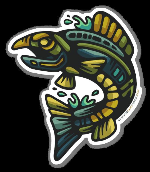 Skacząca ryba naklejka