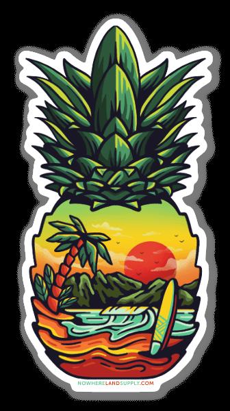 Ananasowa plaża naklejka