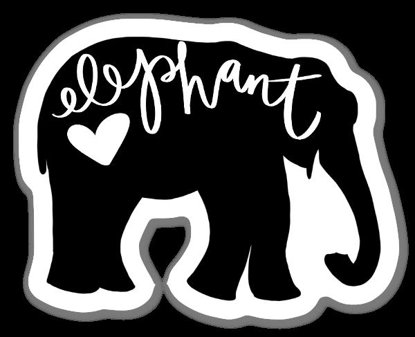Elephant Love Silhouette sticker