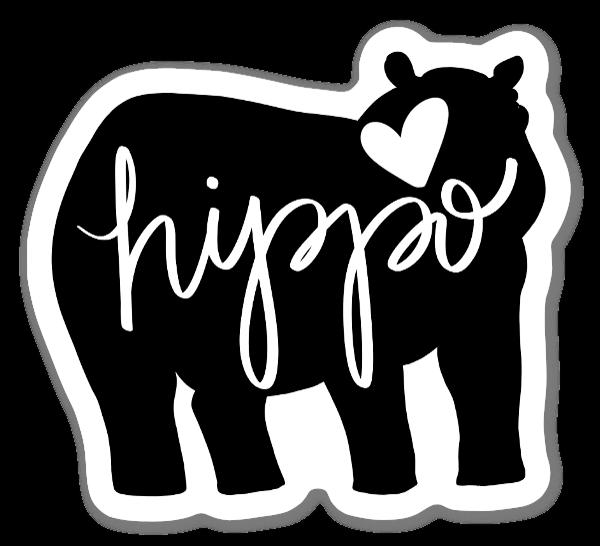 Silhueta Hipopótamo Amor sticker