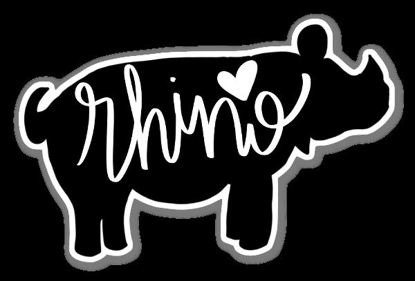 Rhino Love Silhouette sticker