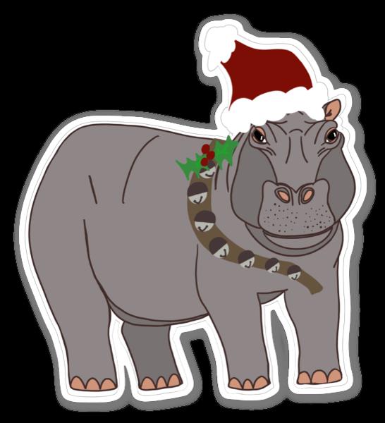 Hippopotamus for Christmas sticker