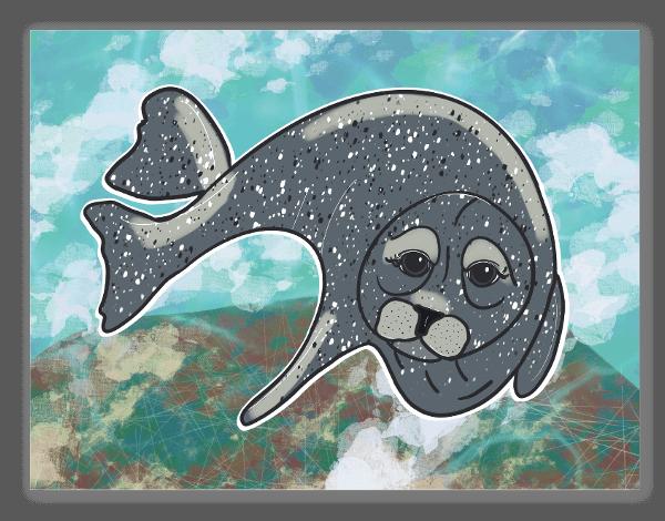 Harbor Seal Underwater sticker