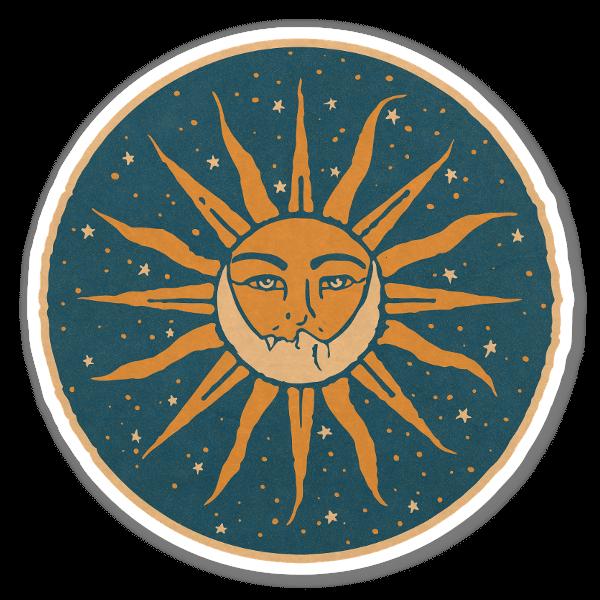 Vintage Sun & Moon sticker