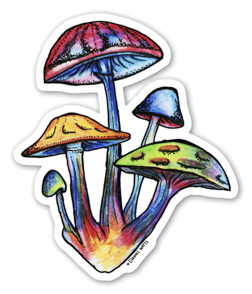 Cluster of Watercolour Shrooms sticker