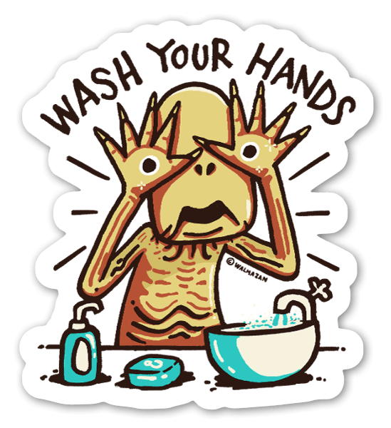 Pale man says Wash Your Hands  sticker