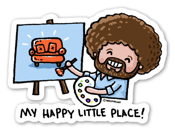 Cartoon Bob Ross sticker