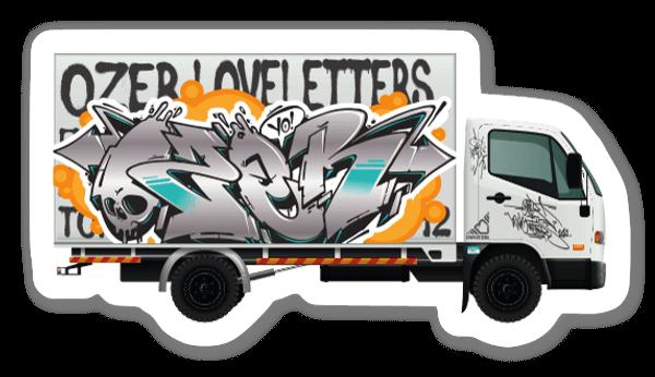 Graffiti truck sticker