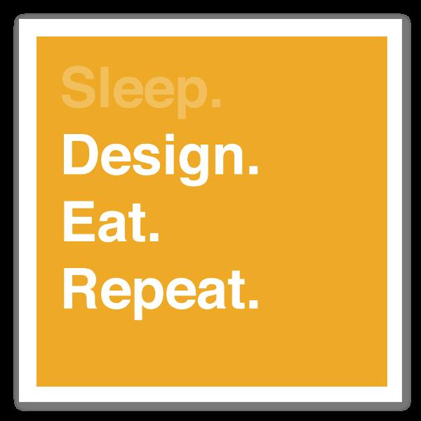 Sleep. Design. Eat. Repeat - Giallo sticker