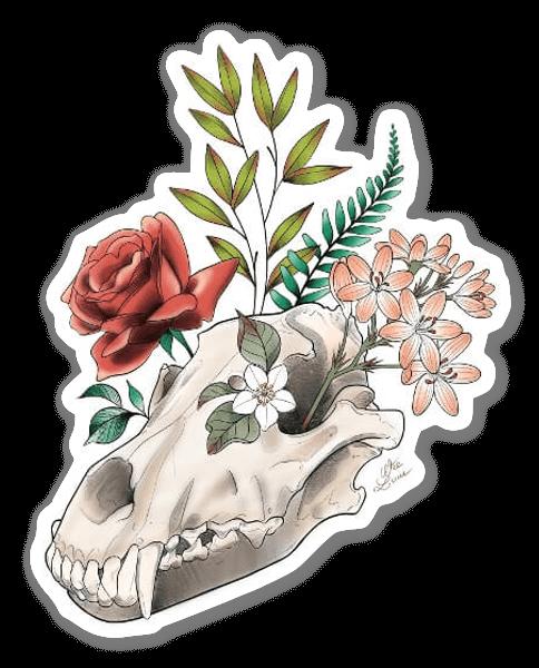 WEE LUCIE - Caveira & Flores sticker