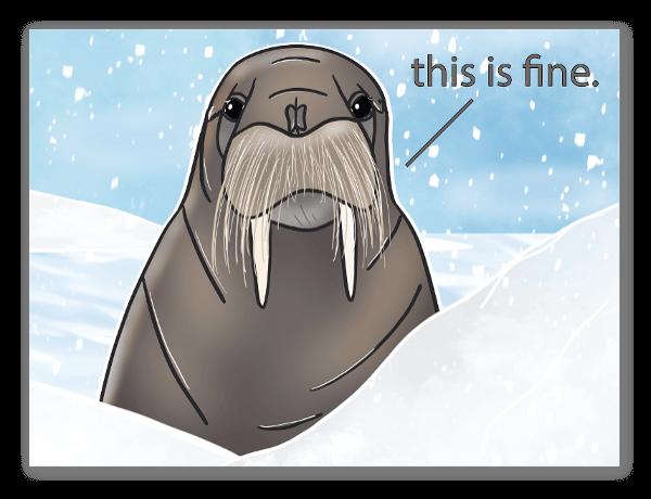 This is Fine - Walrus sticker