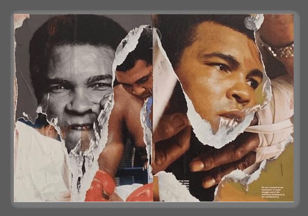 Muhammed Ali torn collage sticker