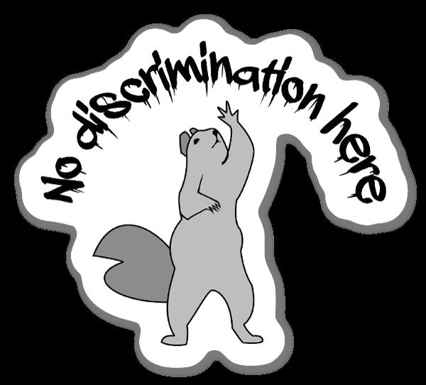 No Discrimination Here Squirrel Sticker