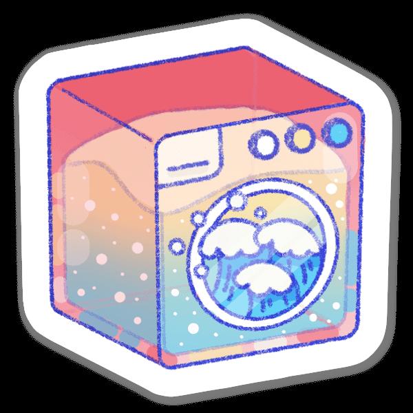 波を洗う洗濯機 ステッカー