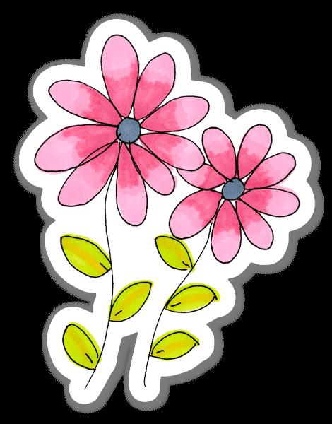ピンクのお花 ステッカー