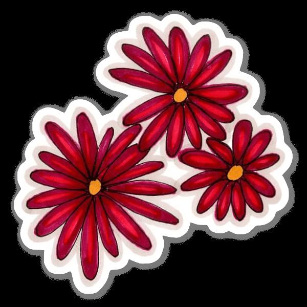 3 Fleurs Rouge sticker