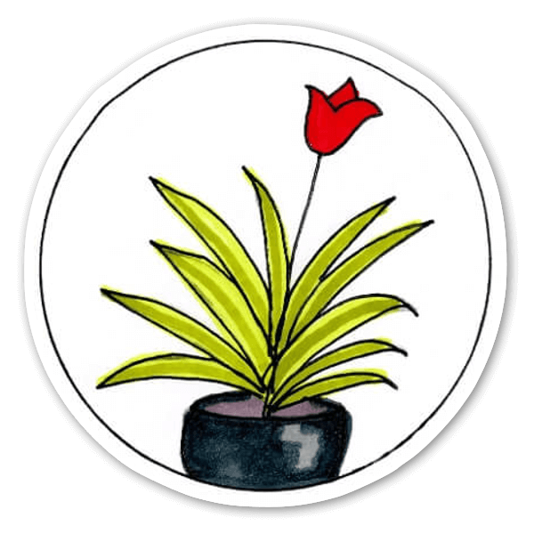 Red Flower in a Pot Sticker