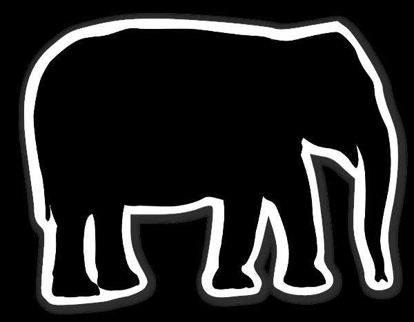 Elephant silhouette Klistremerker