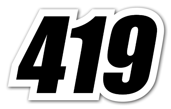 419 racing number sticker