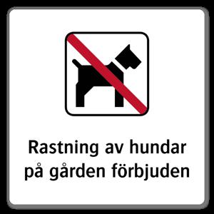 Rastning av hundar på gården forbjudet sticker