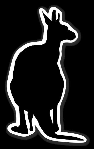 Kenguru siluetti tarrat