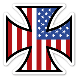 American iron cross flag sticker