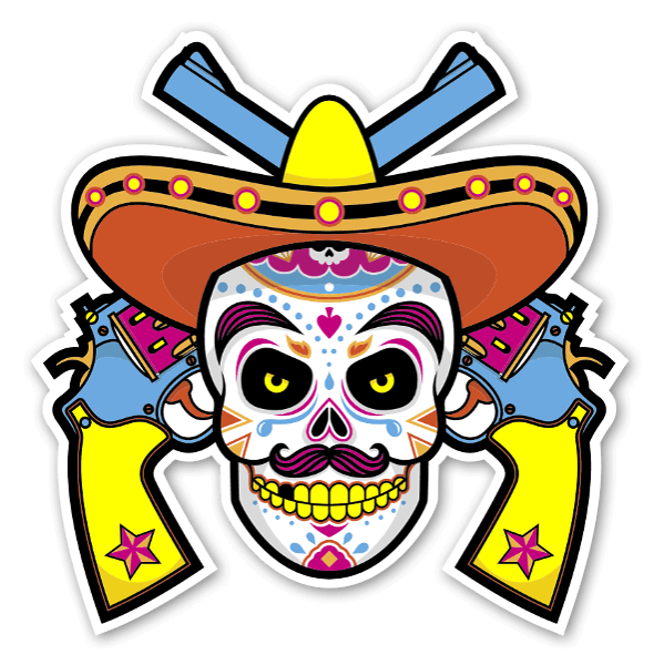 Colorful mexican with guns sticker
