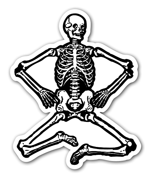 Sitting skeleton sticker
