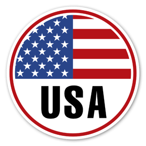 USA Round flag Sticker
