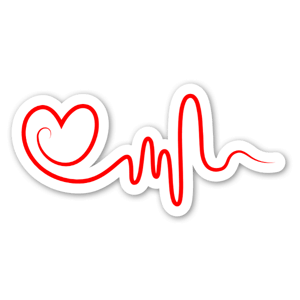 Hjärta med rytm sticker