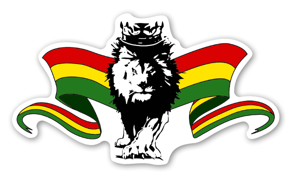 Rasta lion with flags sticker