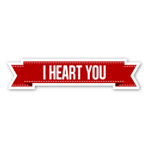 i heart you banderoll sticker